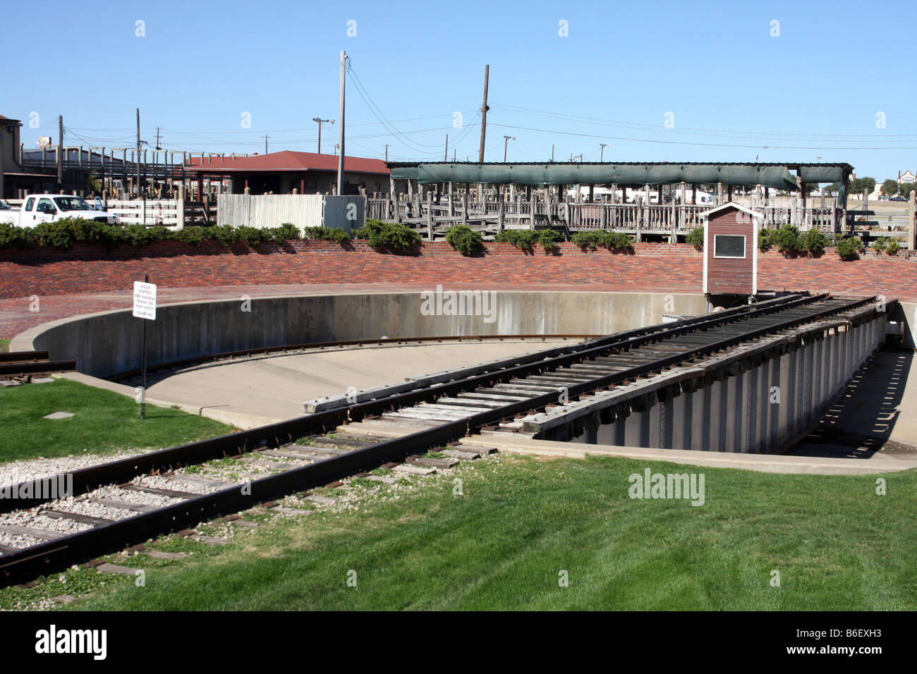 A railroad turnaround track circle for trains at the