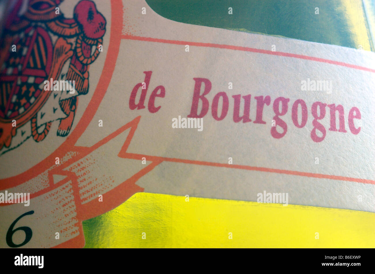 Detail of a Bourgogne wine label - Stock Image