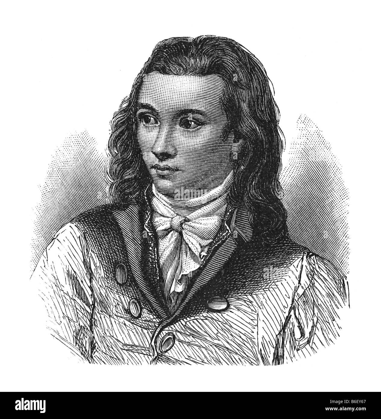 Novalis, Georg Friedrich Philipp Freiherr von Hardenberg, 2. May 1772 castle Oberwiederstedt - 25. March 1801 Weissenfels - Stock Image
