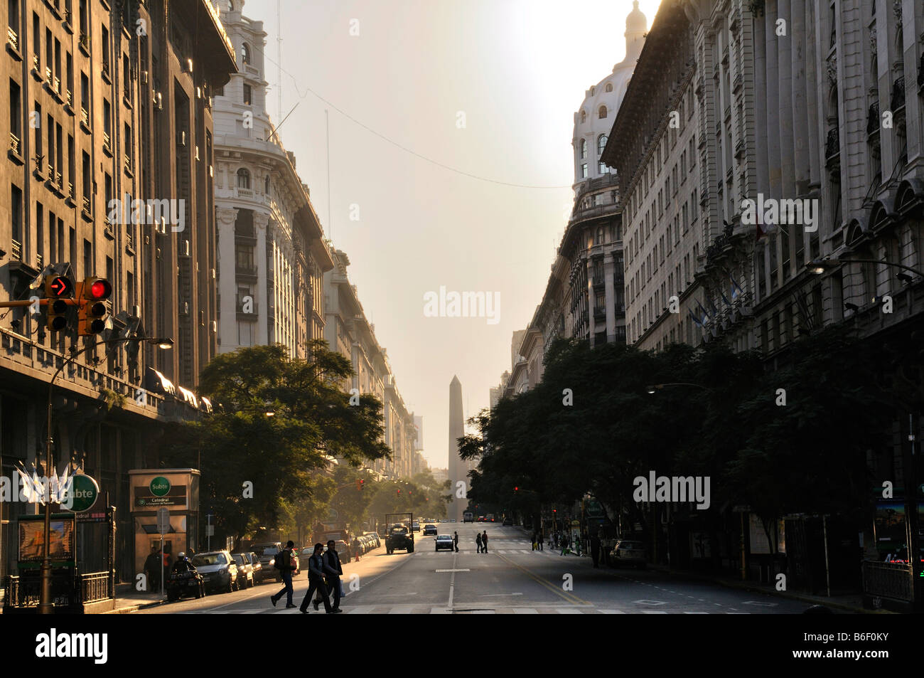 Avenida de Mayo and obelisk, Buenos Aires, Argentina, South America - Stock Image