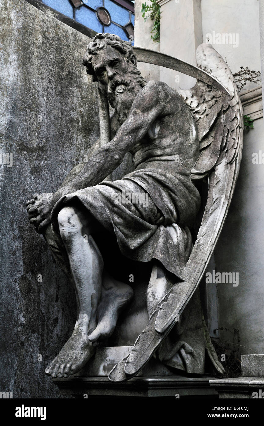 Portrayal of winged death with scythe, tomb, at the La Recoleta cemetery, Buenos Aires, Argentina, South America - Stock Image
