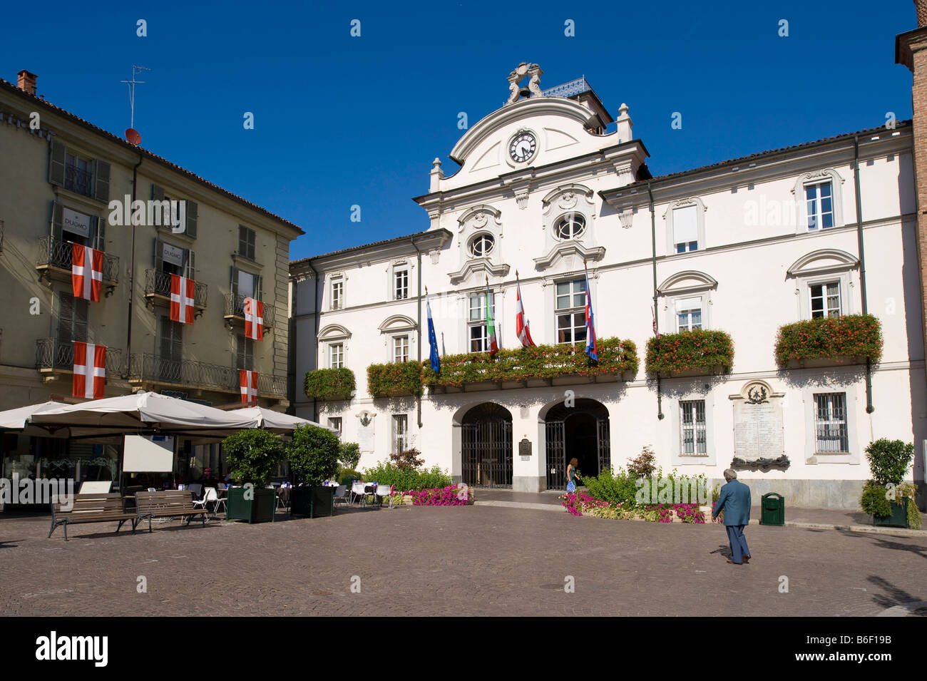 Townhall, townscape, Asti, Piemont, Italy, Europe Stock Photo