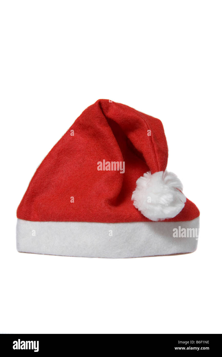 Red santa hat on white background - Stock Image