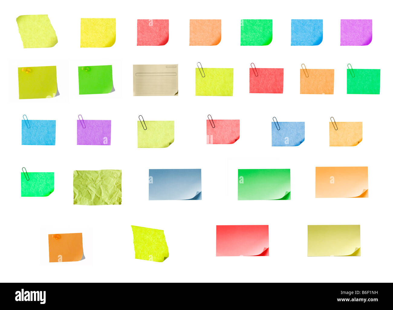 isolated blank color paper post it or postit where you can write or edit easily - Stock Image