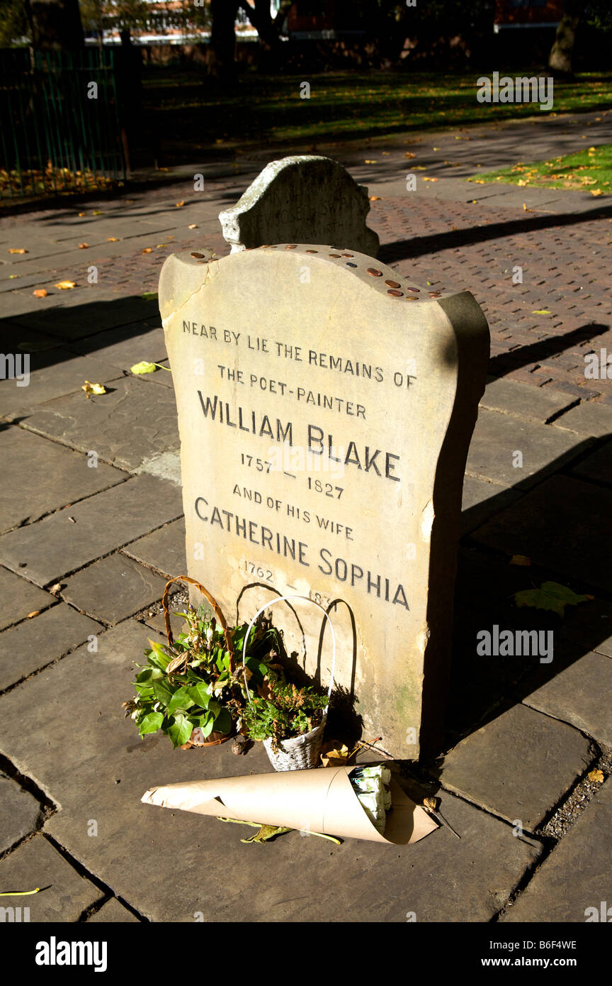 Headstone of William Blake Bunhill Row Burial grounds City of London - Stock Image