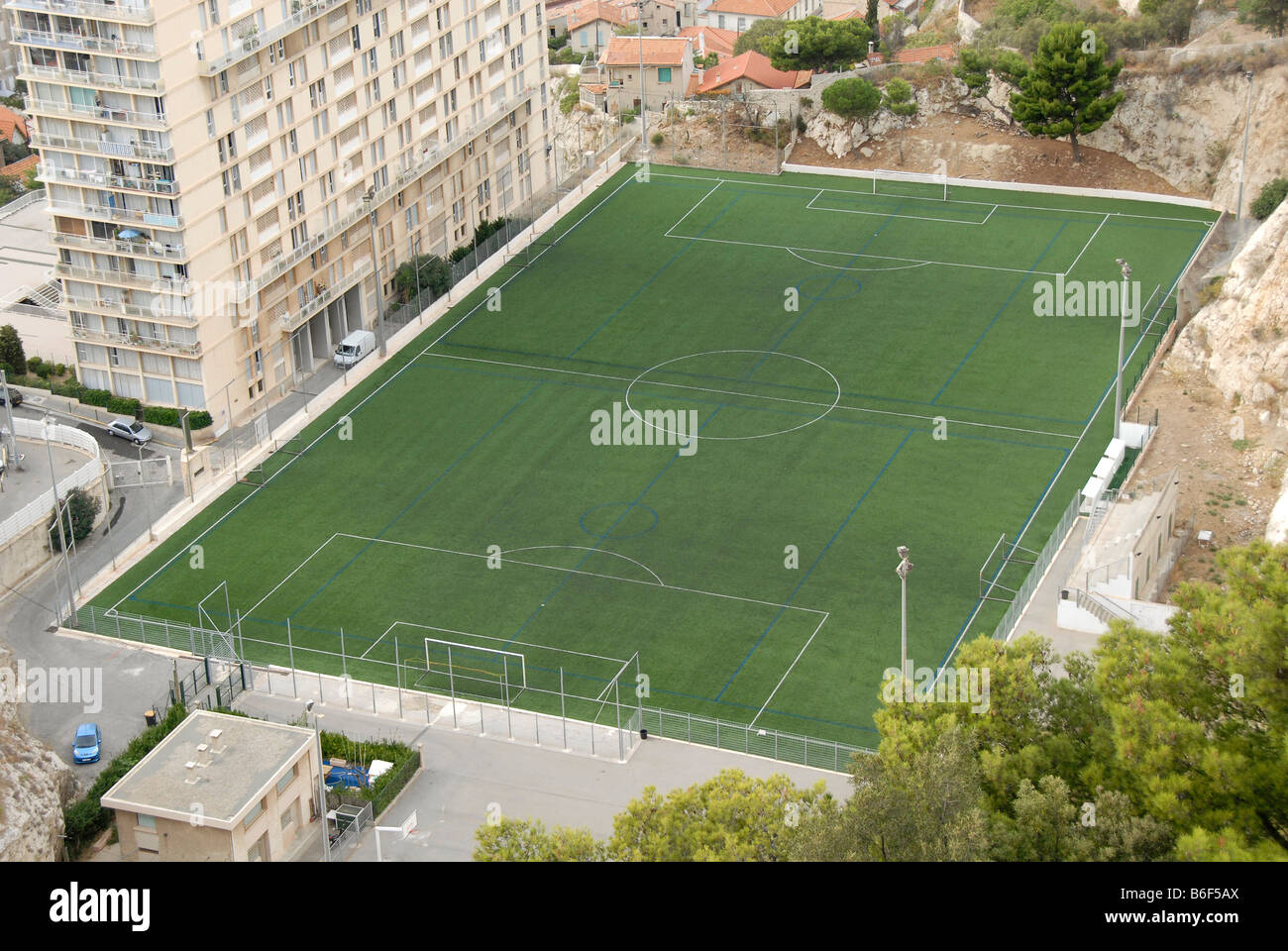 Empty football pitch, aerial view, Marseille, France, Europe - Stock Image