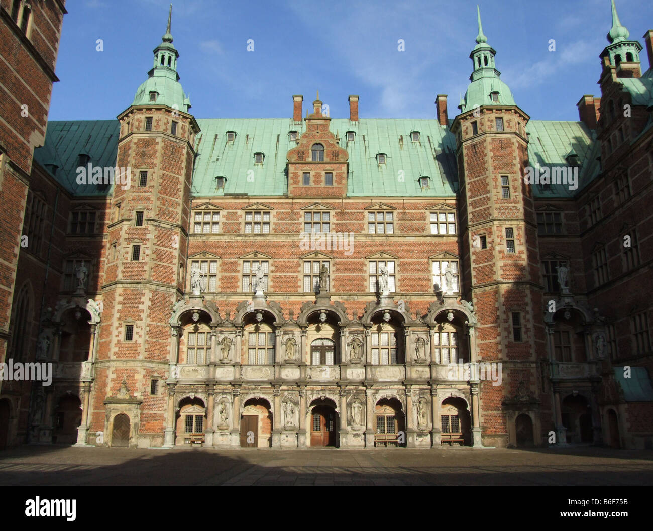 Frederiksborg Castle in Hillerød, Denmark, is the largest Renaissance castle in Scandinavia. The oldest parts - Stock Image