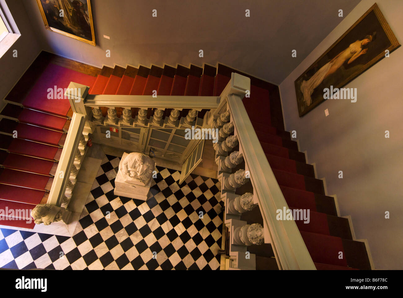 Stairway inside the City Museum of Valencia building Spain Museo de la Ciudad - Stock Image