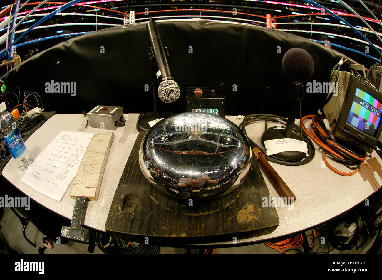 Bell by the boxing ring in the Staples Center, Los Angeles, USA - Stock Image