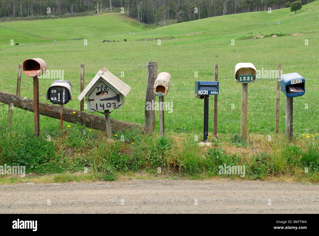 Post boxes of different farmhouses on the side of a road near Deloraine, Tasmania, Australia Stock Photo