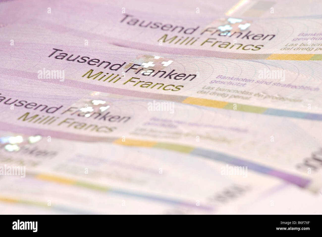 Thousand Franc notes, Swiss banknotes, detail Stock Photo