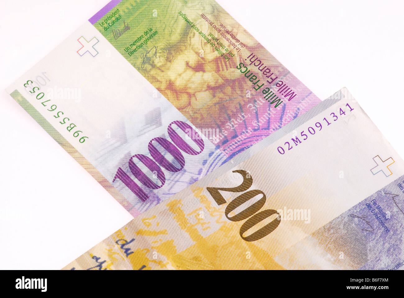 Thousand and two hundred Franc Swiss banknotes - Stock Image