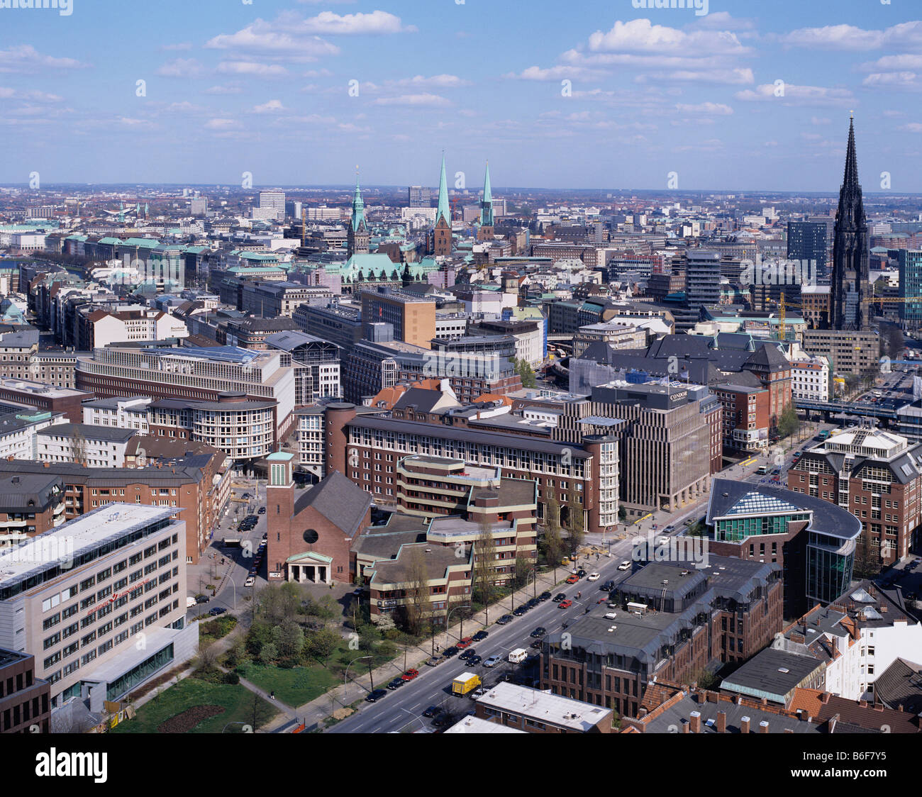 View from Michel over the roofs of Hamburg to the city hall, Hamburg, Germany, Europe - Stock Image