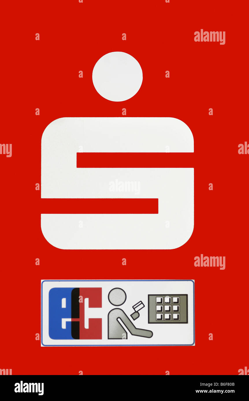 Sparkasse logo with sign for EC cash machine - Stock Image