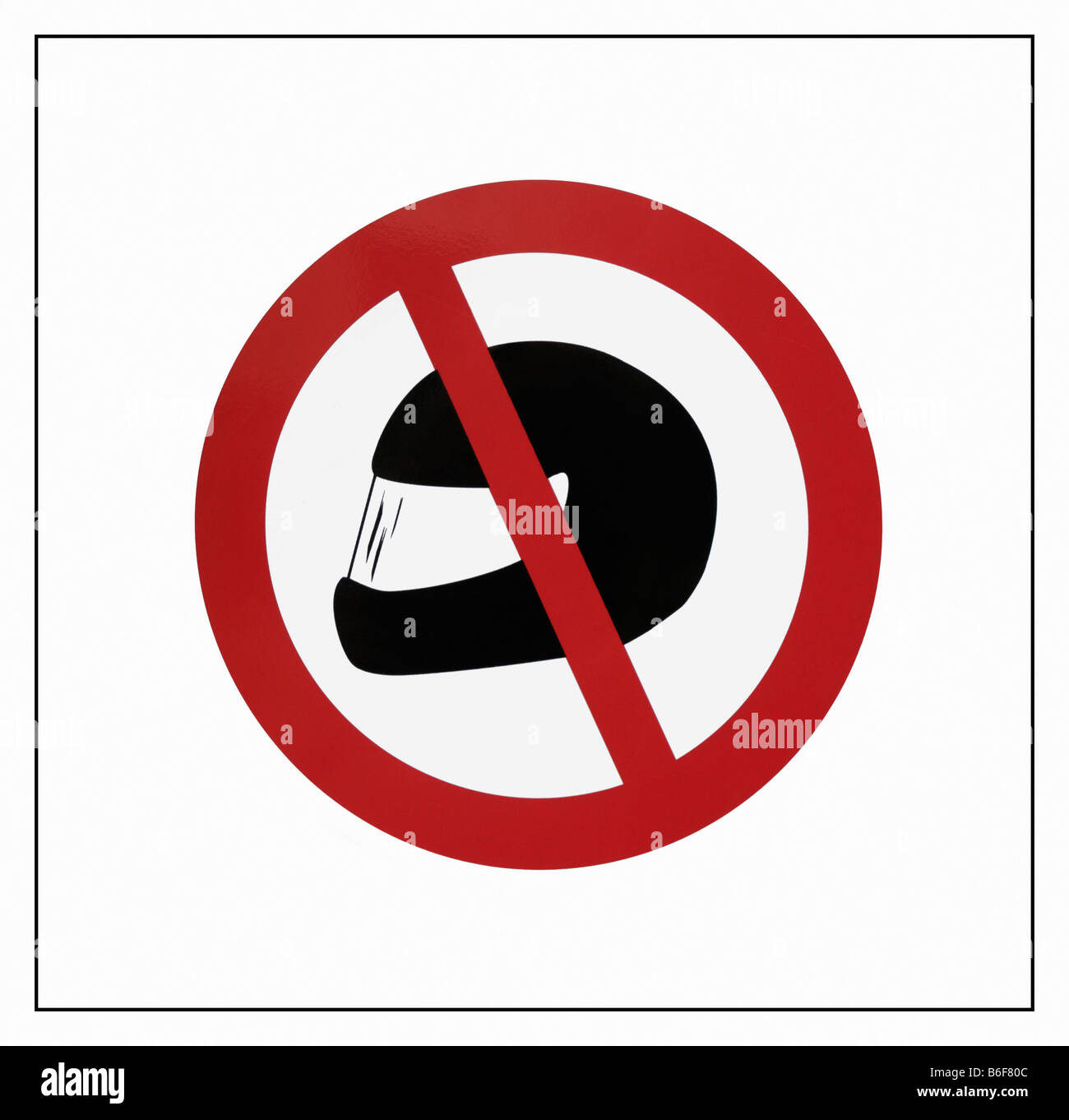 Prohibition sign: No wearing of motorcycle helmets, bank security measure - Stock Image