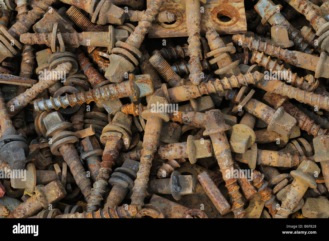Accumulation of old metal screws, scrap metal collection, covering whole format - Stock Image