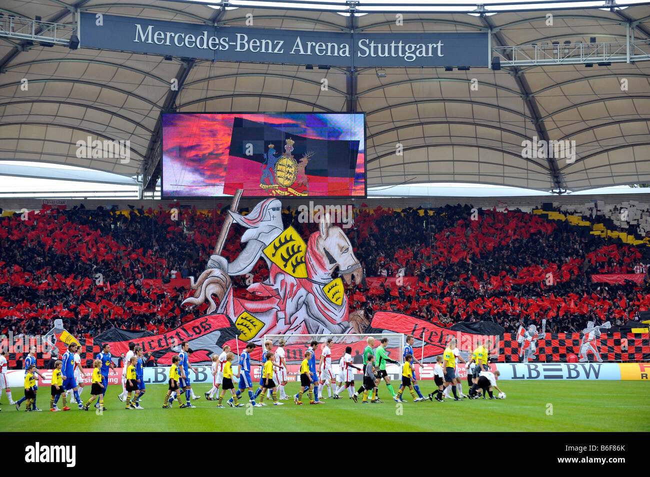 Action fan club fan curve VfB Stuttgart football club, knight on horseback with the incoming teams, Mercedes-Benz - Stock Image