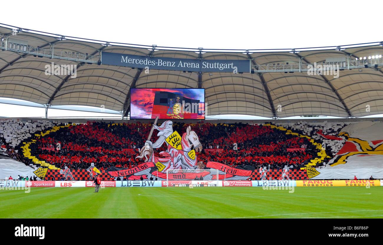 Action fan club fan curve VfB Stuttgart football club, knight on horseback, Mercedes-Benz Arena, Stuttgart, Baden - Stock Image