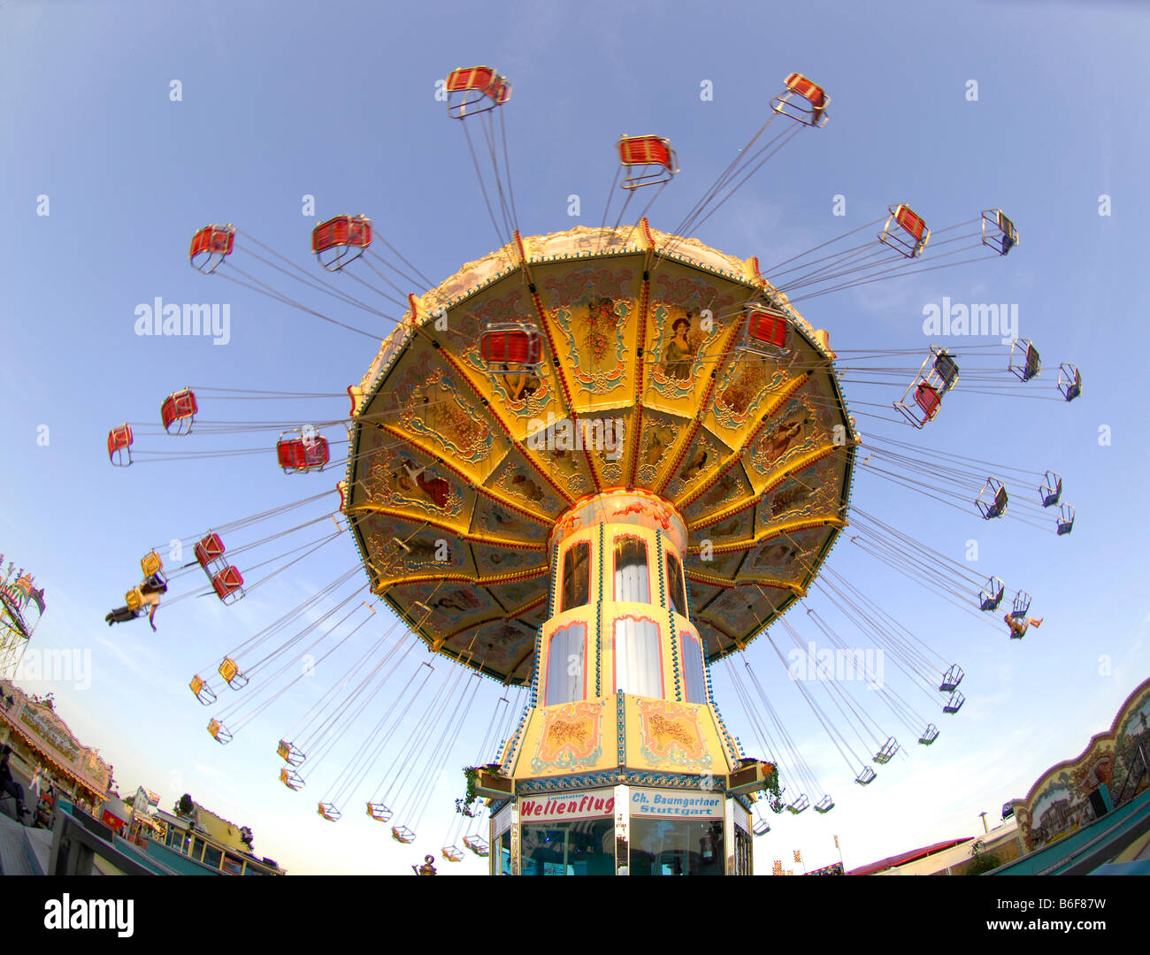 Chairoplane roundabout swing at the Cannstatter Volksfest Fair in Stuttgart, Baden-Wuerttemberg, Germany, Europe Stock Photo
