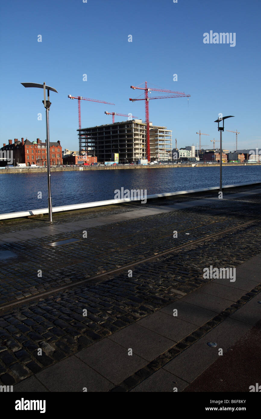 Modern buildings in the Docklands district of the city of Dublin in the Republic of Ireland - Stock Image