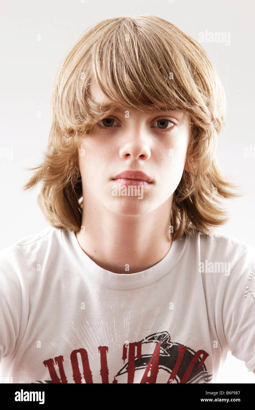 12 Year-old Boy Looking Into The Camera Stock Photo