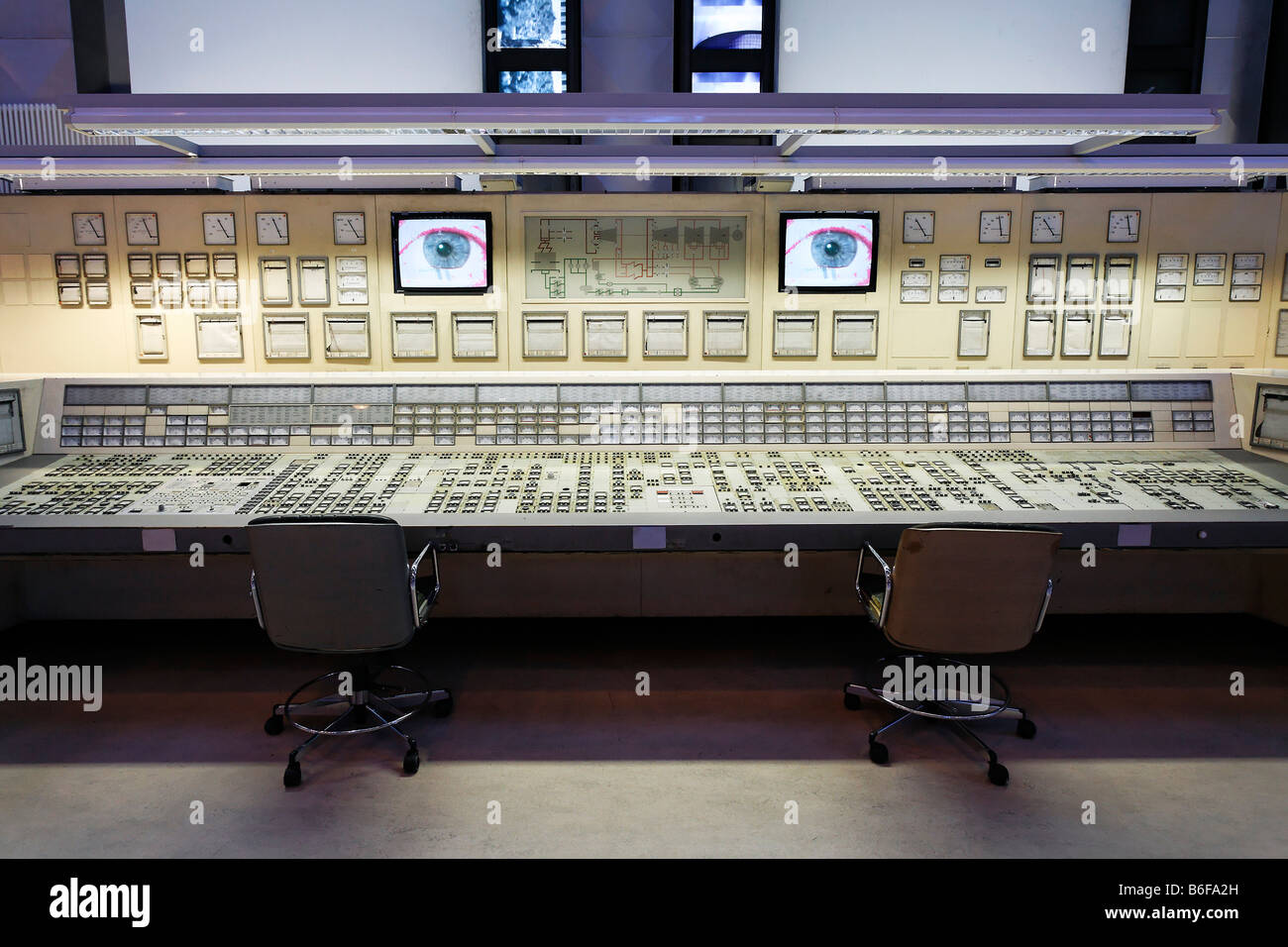 Control room of a decommissioned electric power station recreated in an exhibition hall at DASA, Deutsche Arbeitsschutzausstell Stock Photo