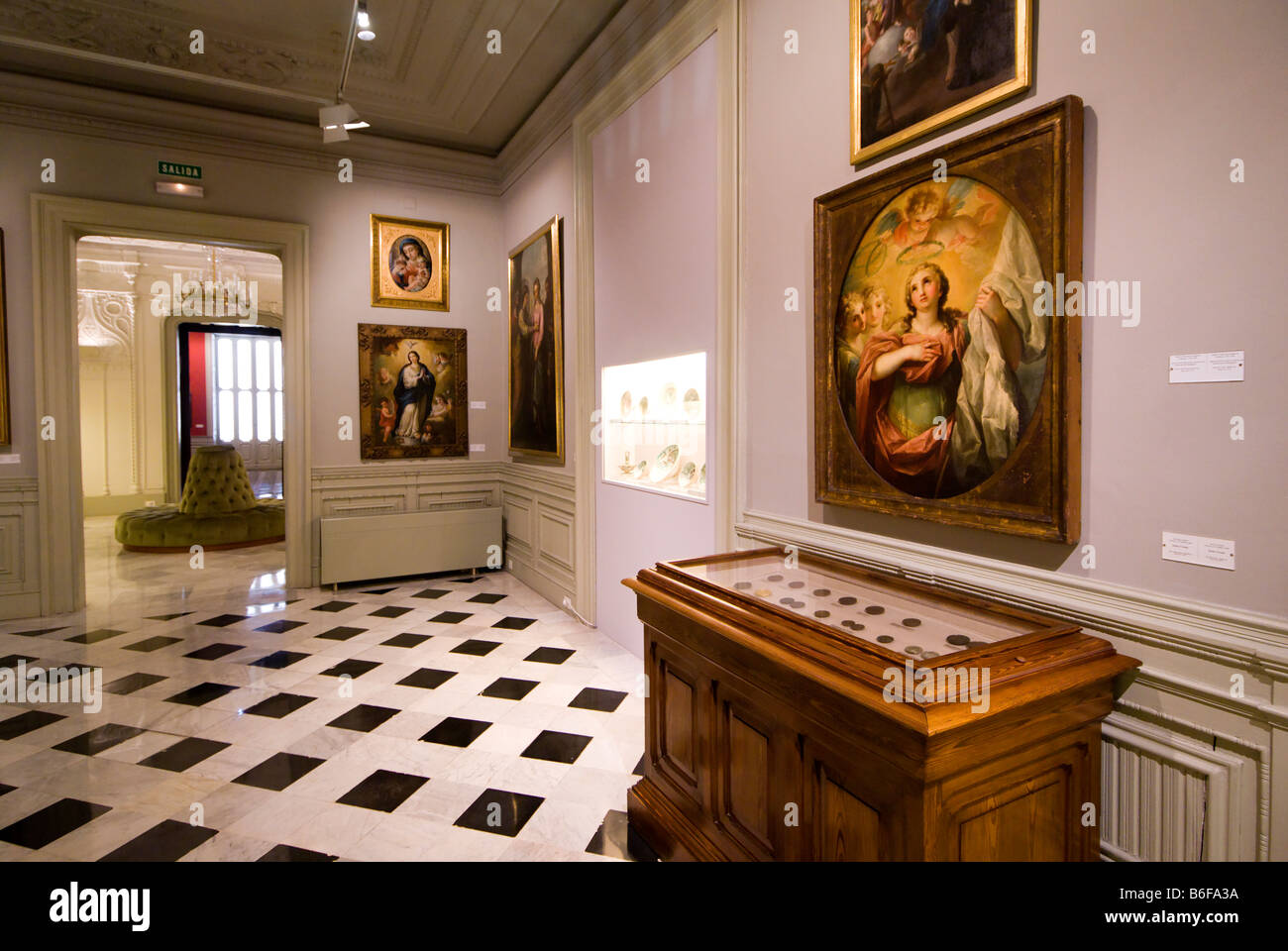 Religious paintings inside the City Museum of Valencia building Spain Museo de la Ciudad - Stock Image