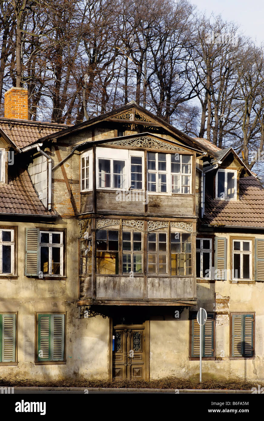 Old House With Wooden Veranda, Unrenovated Condition, Bad Suderode, Harz,  Saxony Anhalt, Germany, Europe