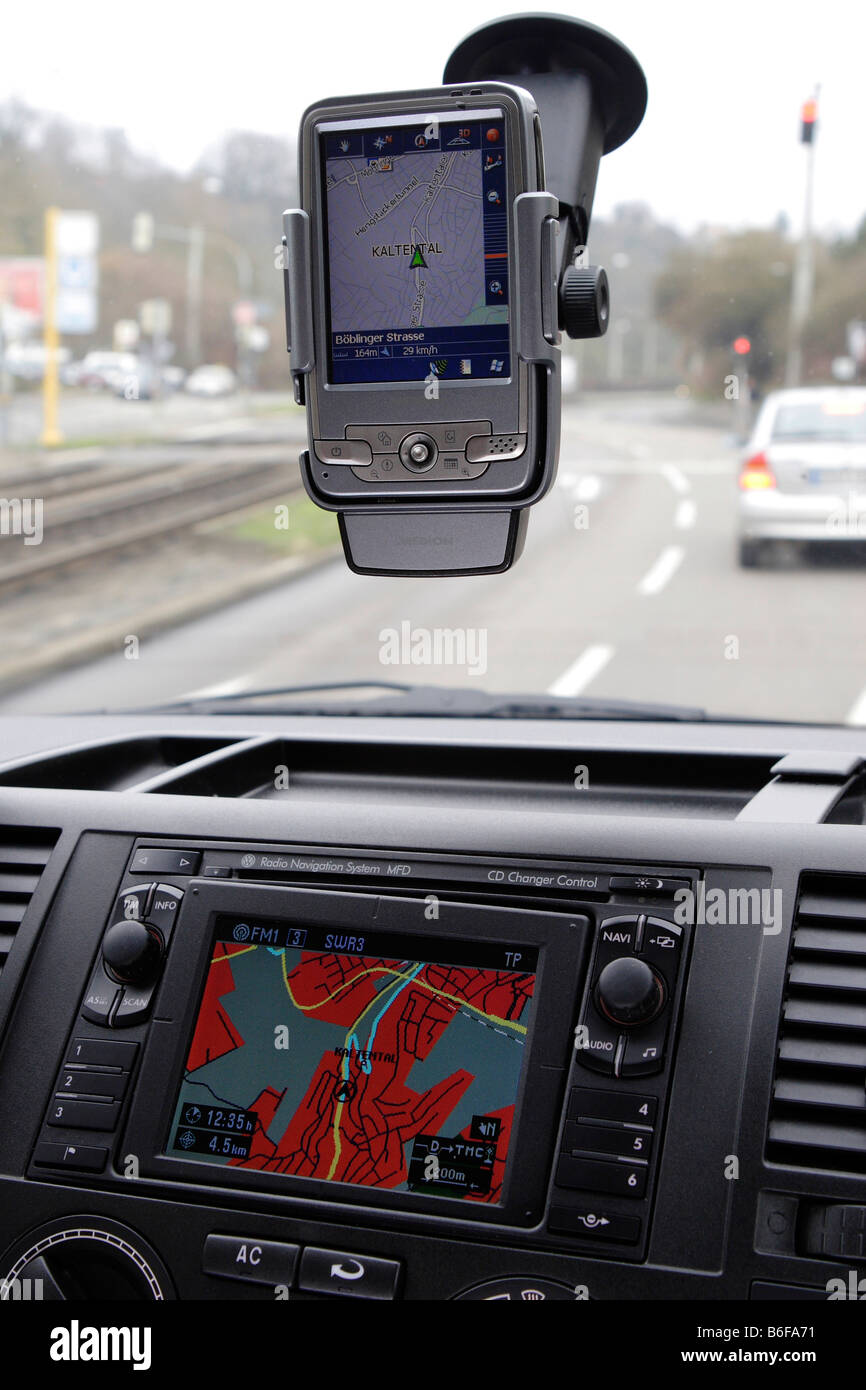 Navigations system in a car - Stock Image