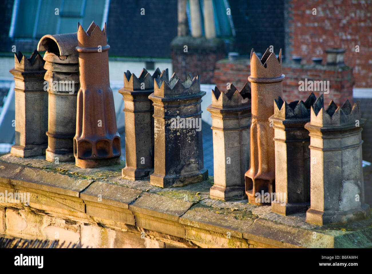 Old chimney pots in Newcastle Upon Tyne - Stock Image