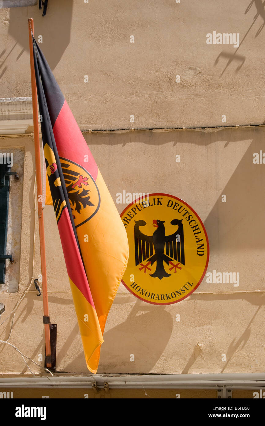 Sign, honorary consul of the Bundes Republik Deutschland and the German flag - Stock Image