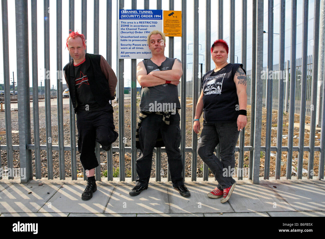 The punk band Eastfield who are also railways enthusiasts in Stratford May 2009 in front of the Eurostar depot - Stock Image