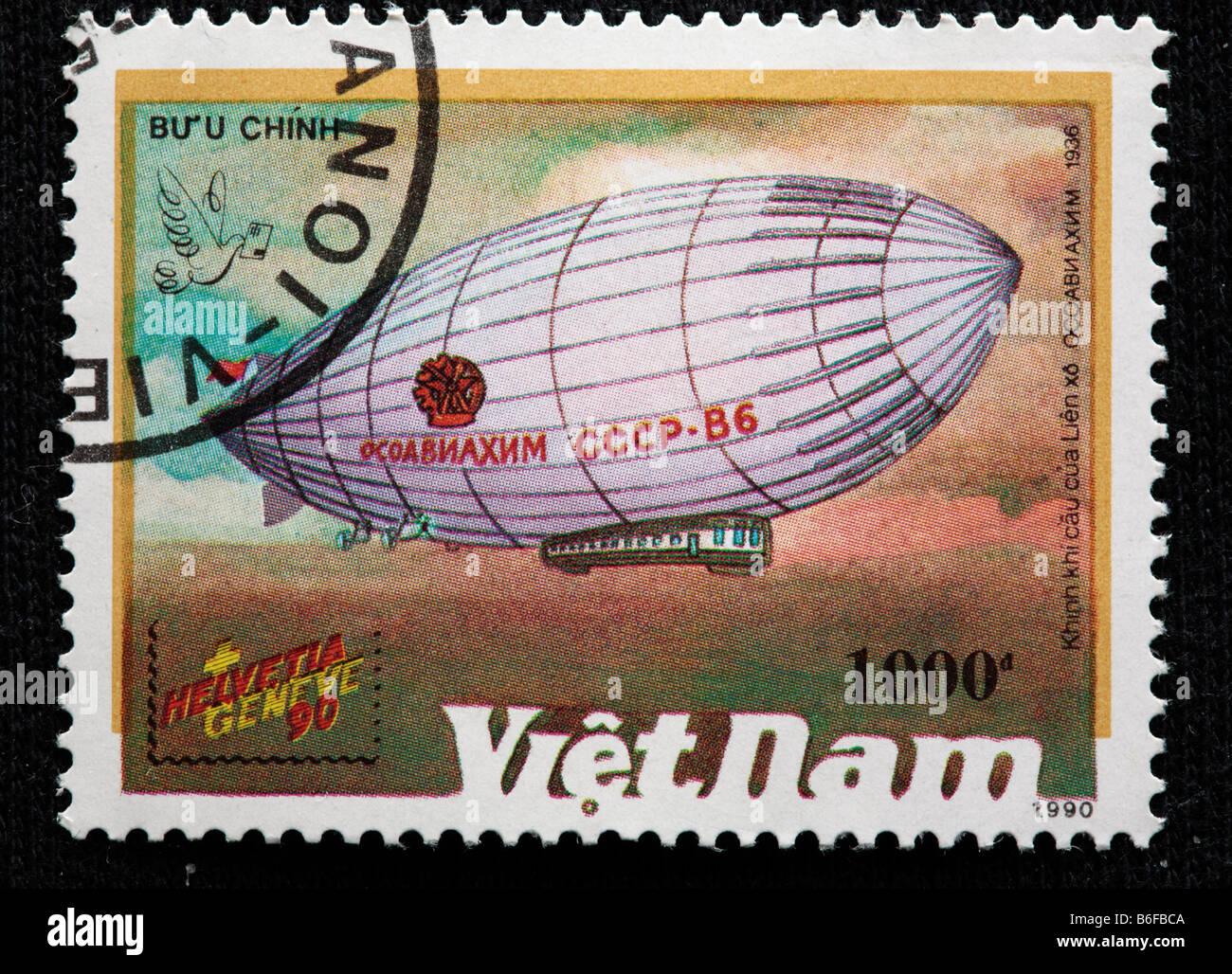 "History of aviation, Russian airship ""Osoaviakhim"" (1936), postage stamp, Vietnam, 1990 Stock Photo"