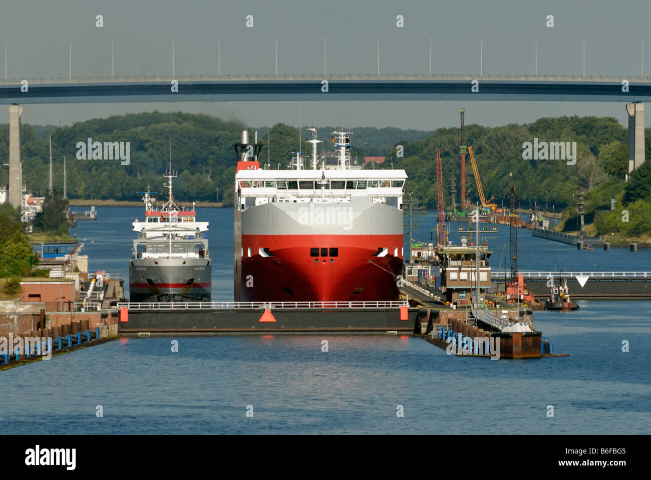 Kiel-Holtenau lock in front of the bridge over the Kiel Canal, Kiel, Germany, Europe - Stock Image