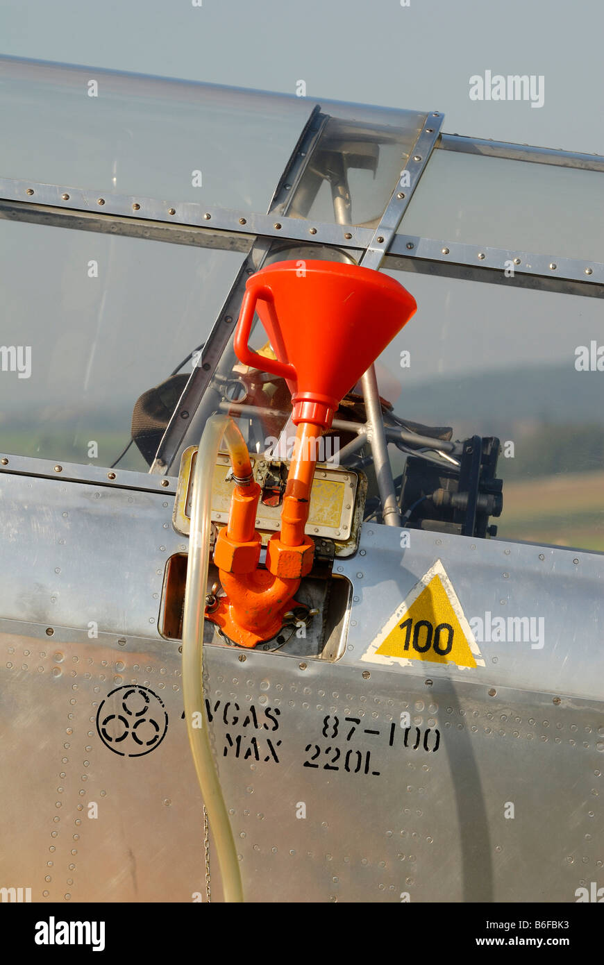 Refueling device of a propeller-driven aircraft - Stock Image
