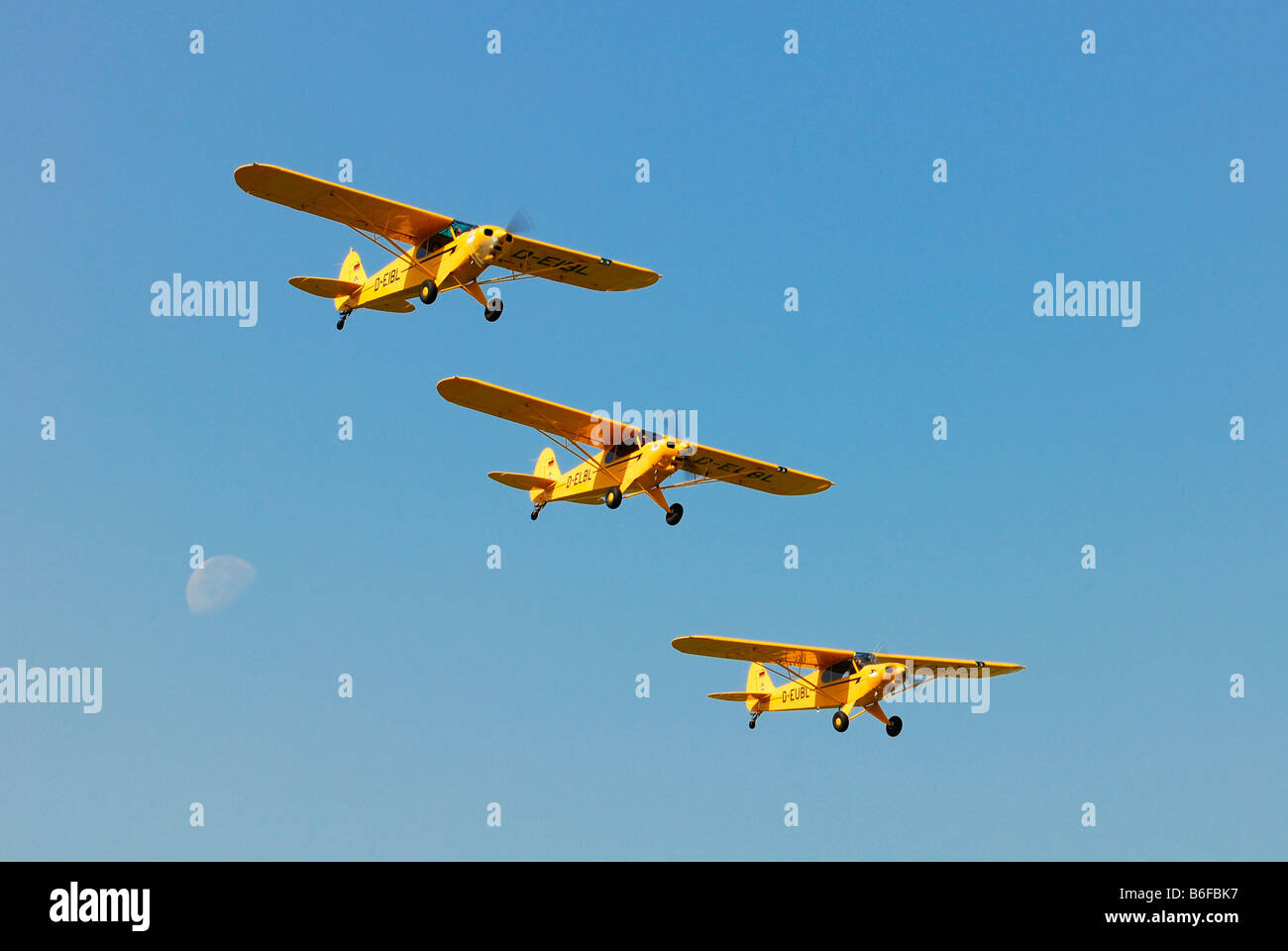 Three Piper L-21B Super Cubs flying in formation - Stock Image