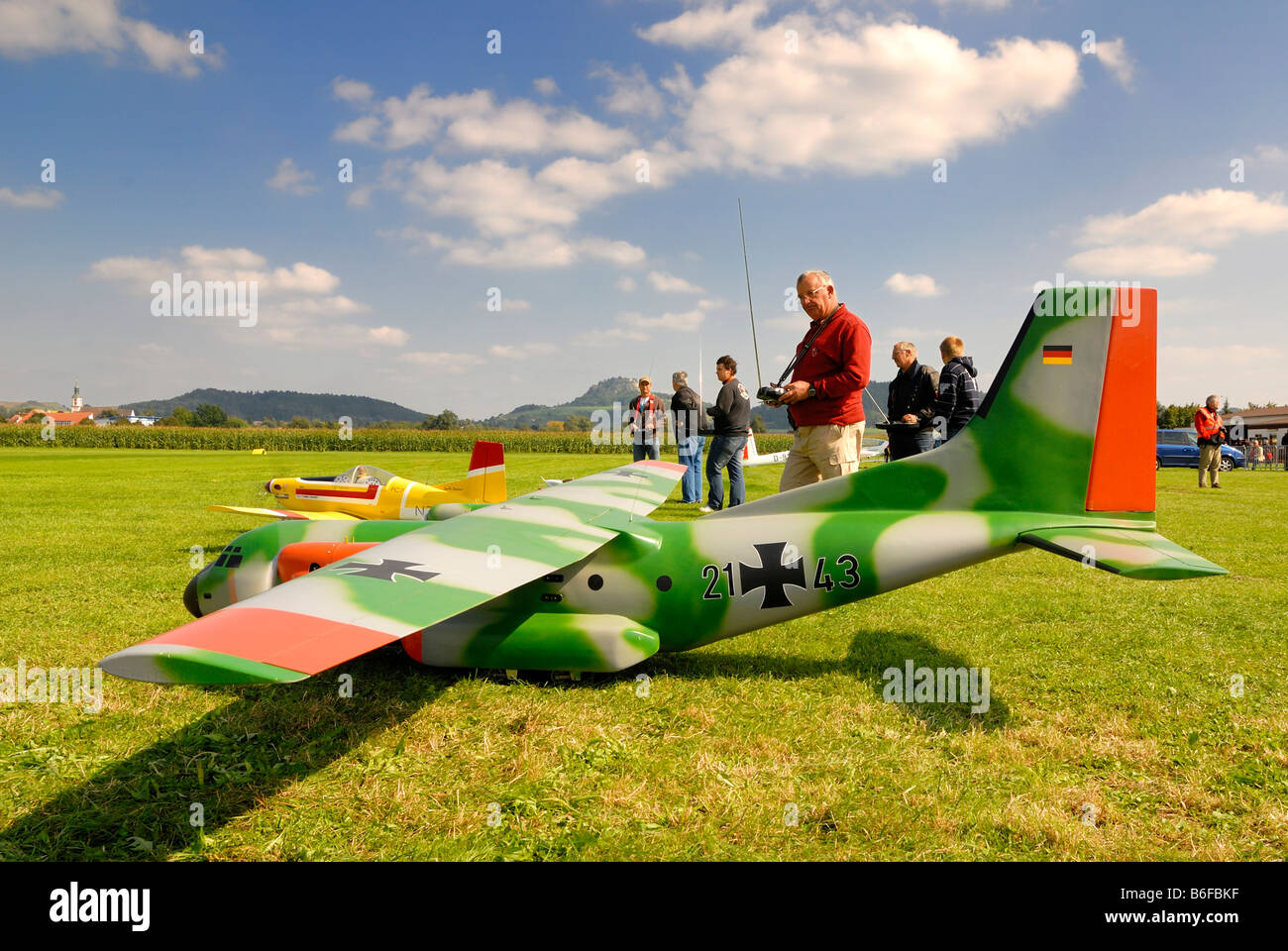 Radio-controlled and motorised model of a Transall C-160 - Stock Image