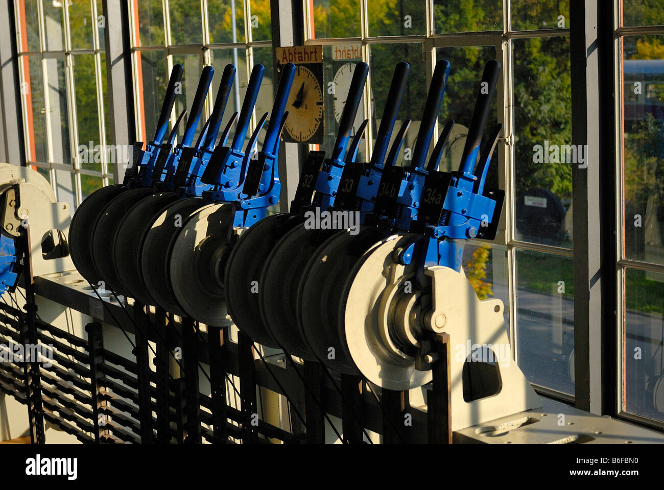 Signal box levers for changing the points of the railway tracks - Stock Image
