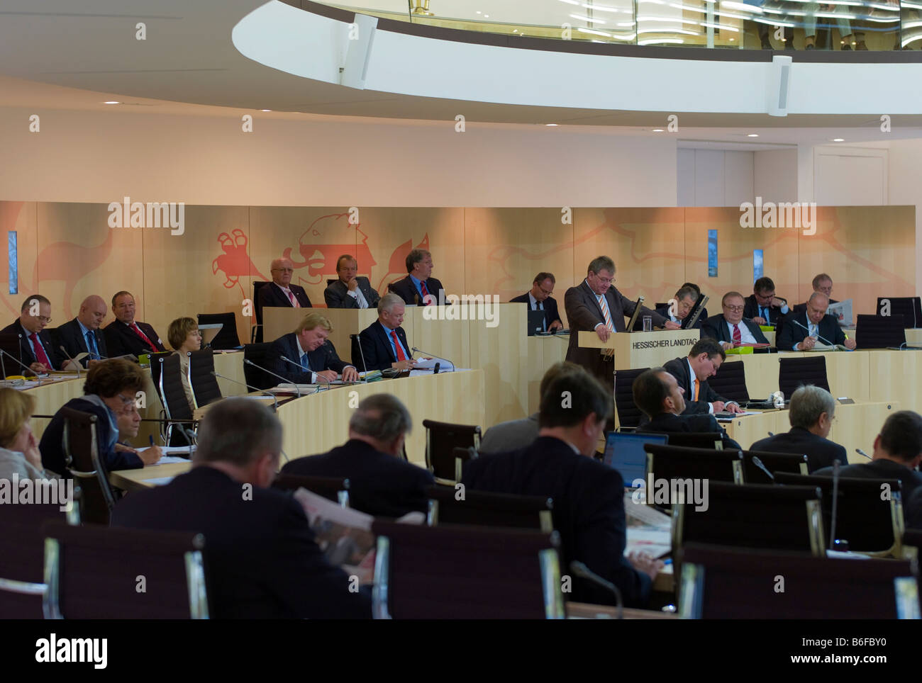 Delegates in the Plenarsaal or plenary assembly hall of the Hessian Landtag, Parliament, Wiesbaden, Hesse, Germany, - Stock Image