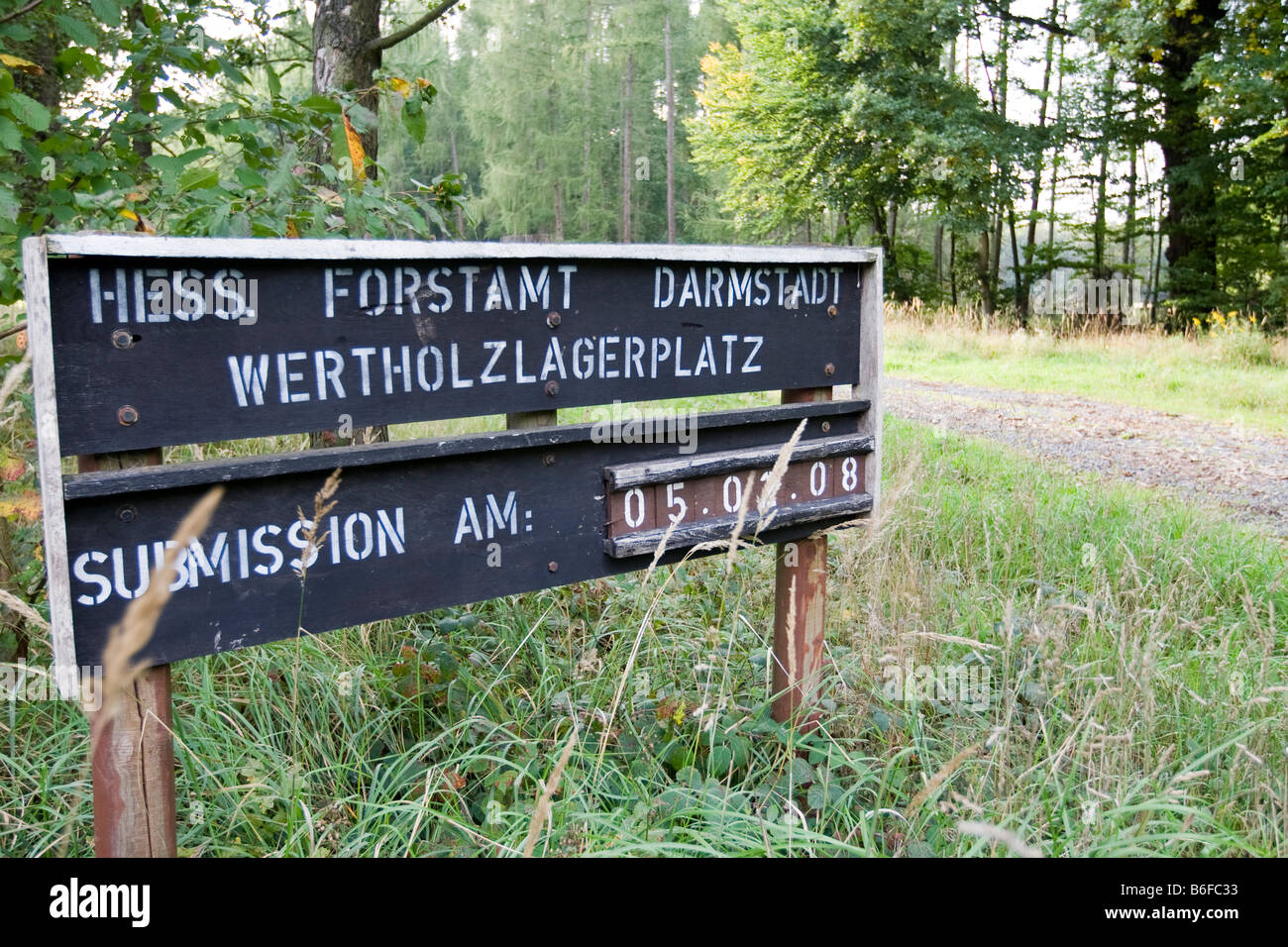 Hessian forestry office's lumber yard information sign, Hesse, Germany, Europe - Stock Image