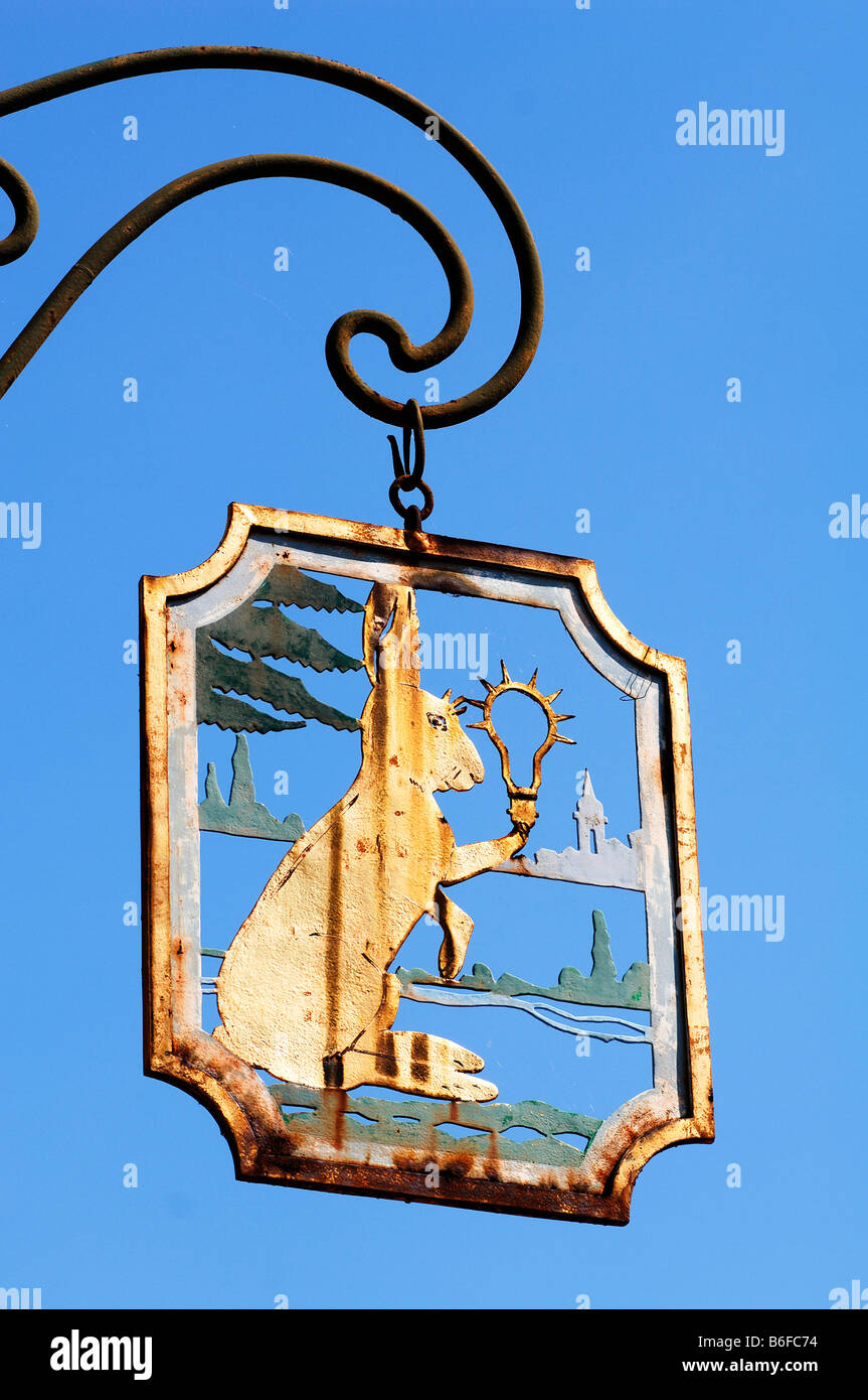 Figure of a hare on a Guest House sign in Comar, Alsace, France, Europe Stock Photo