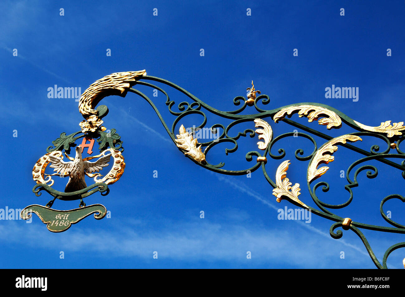 Decorative shop sign for a pharmacy in Nuremberg, Bavaria, Germany, Europe - Stock Image