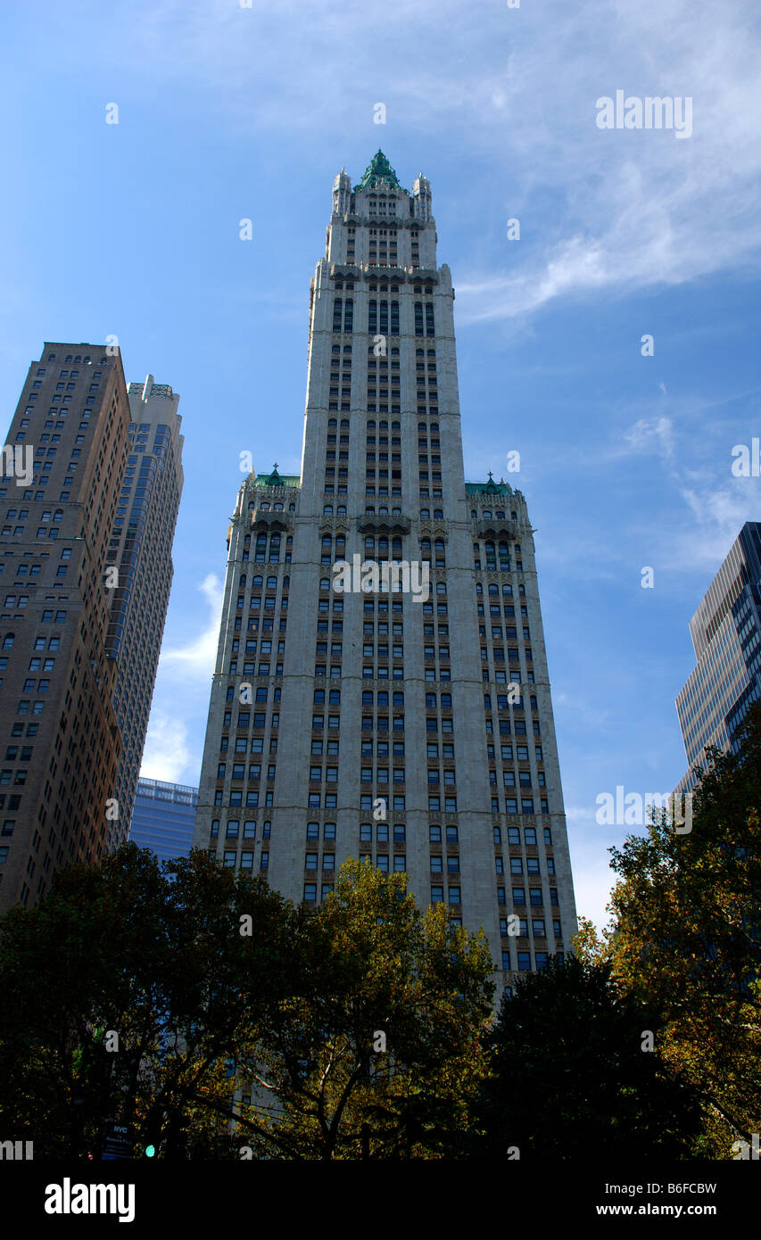 Woolworth multi-story building in Downtown, New York City, USA - Stock Image