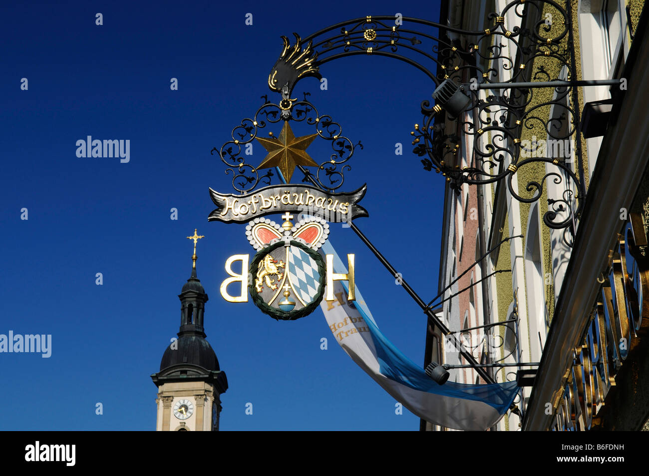 Hofbraeuhaus Brewery shop-front sign, Traunstein town square, Chiemgau, Bavaria, Germany, Europe - Stock Image