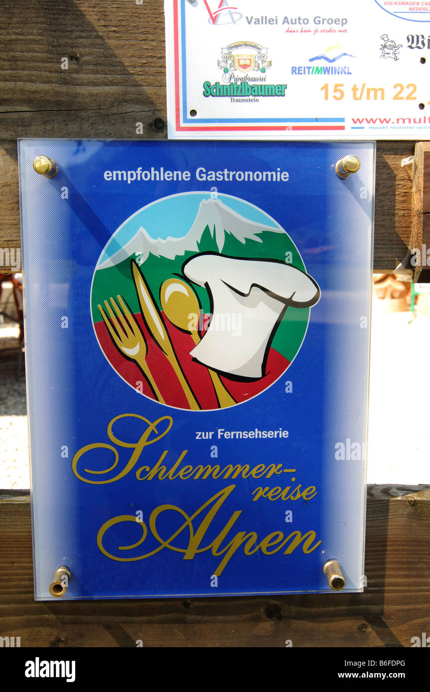 Sign for Schlemmerreise Alpen or Alpine Gluttony Tour, Windbeutelgraefin Cafe, Ruhpolding, Chiemgau, Bavaria, Germany, - Stock Image