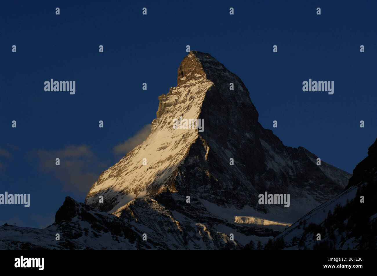 Sunrise on the Matterhorn, Zermatt, Wallis or Valais, Switzerland, Europe - Stock Image