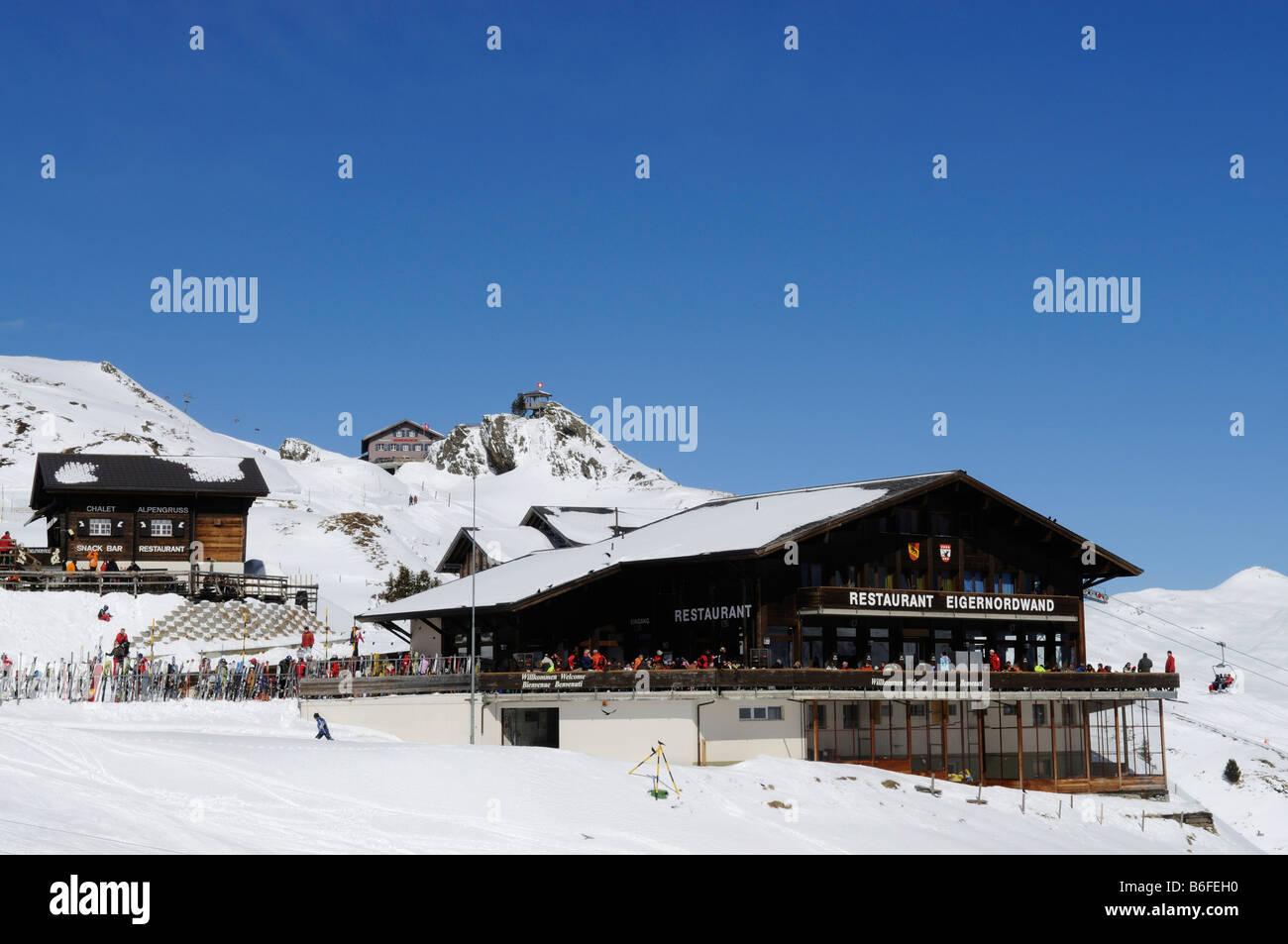 Eiger-Nordwand Restaurant, Alpengruss Chalet, Kleine Scheidegg Mountain, Grindelwald, Bernese Alps, Switzerland, - Stock Image