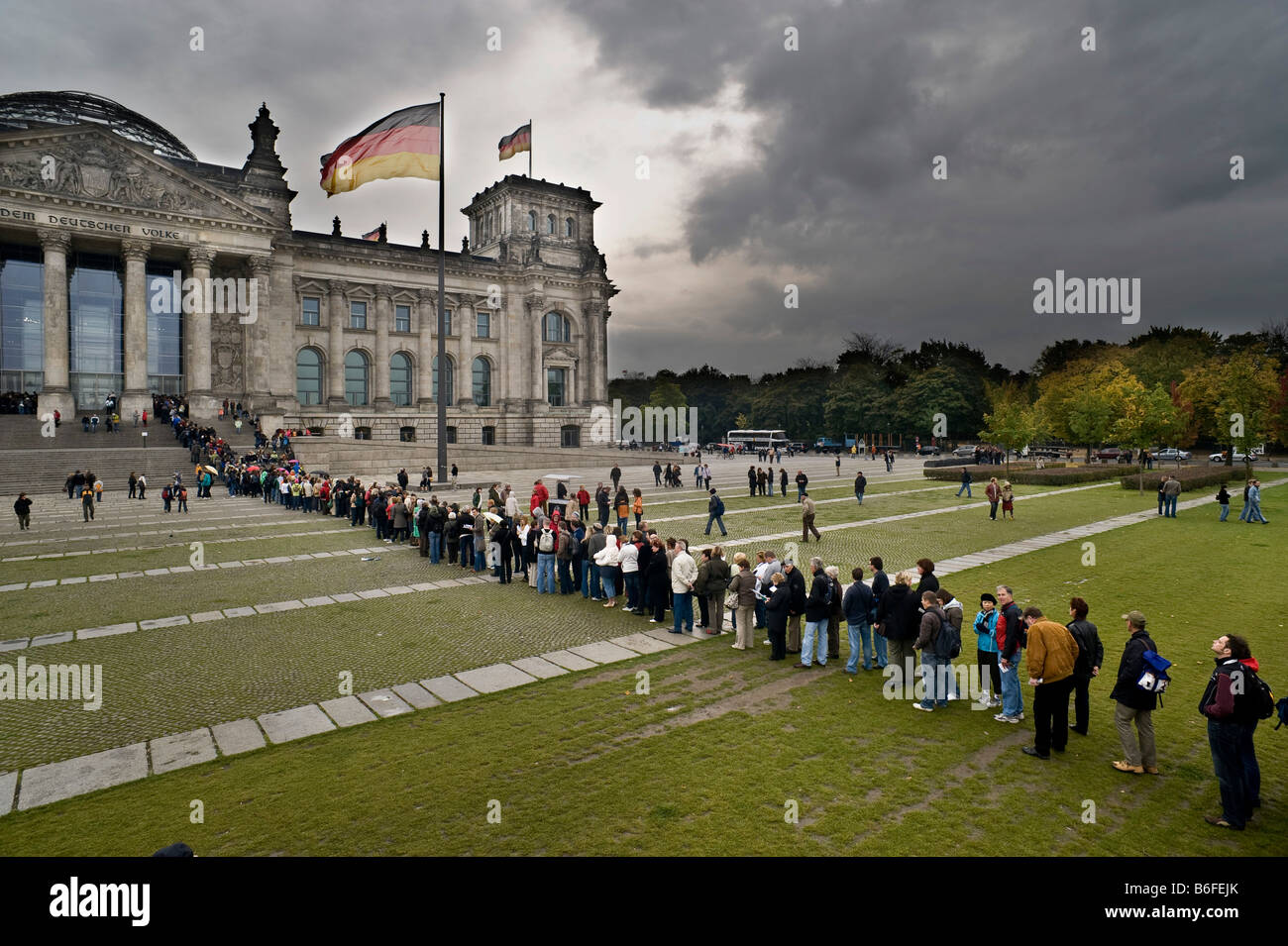 Reichstag building, people waiting in line, Berlin, Germany, Europe - Stock Image