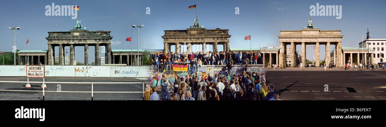 Composition: Brandenburg Gate 1980, 1989, 2008, Berlin, Germany, Europe - Stock Image