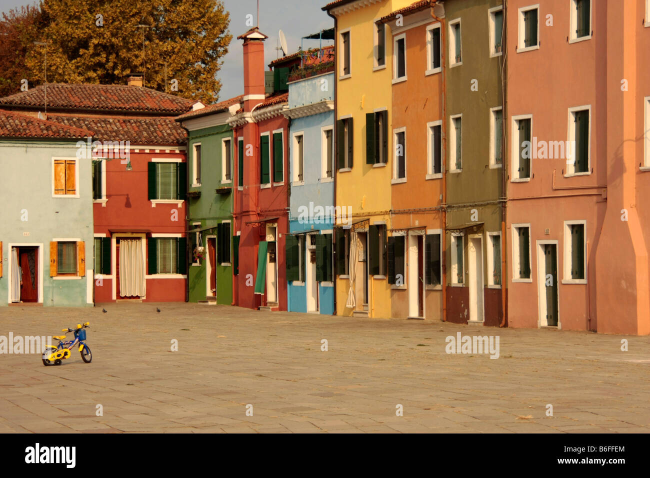 Island of Burano in the Venetian Lagoon, renowned for its colorfully painted houses, Veneto, Italy, Europe Stock Photo